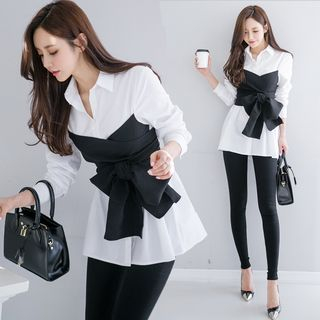 Image of Mock Two-piece Long-Sleeve Blouse