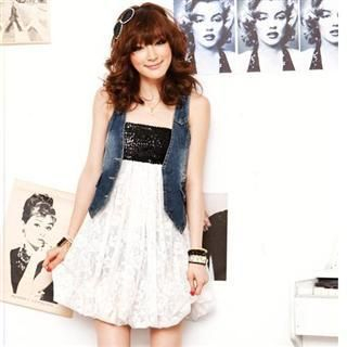 Buy SPICY HOLIC Sequined Bodice Lace Tube Dress 1022458263