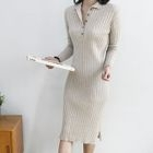 Wool Blend Ribbed Midi Polo Dress 1596