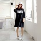 3/4-Sleeve Sequined Lettering T-Shirt Dress 1596