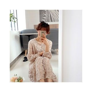 Round-Neck Lace Midi Dress 1058202211