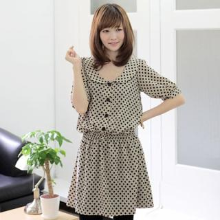 Picture of CLICK Peter Pan-Collar Polka Dot Dress 1023046110 (CLICK Dresses, Womens Dresses, South Korea Dresses)
