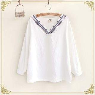 Embroidered V-Neck Long Sleeve Top 1052788713