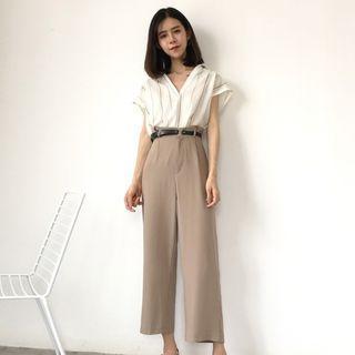Short-Sleeve Striped Blouse / Cropped Wide Leg Pants / Set: Short-Sleeve Striped Blouse + Cropped Wide Leg Pants 1060904066
