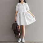 Embroidered Collar Elbow-Sleeve Dress 1596