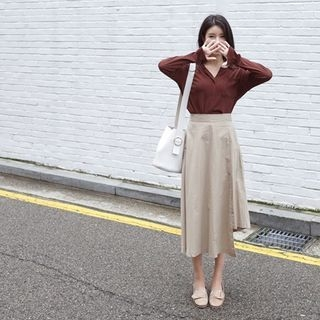 Band-Waist Asymmetric-Hem Long Skirt 1061972596