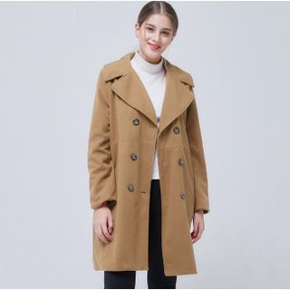 Image of Double Breasted Long Woolen Coat
