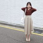 Band-Waist Asymmetric-Hem Long Skirt 1596