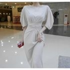 Balloon-Sleeve Tie-Waist Maxi Dress 1596