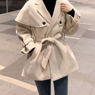 Sashed Button-up Coat
