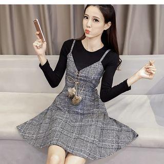 Set: Long-Sleeve T-Shirt + Plaid Strappy A-Line Dress 1055471386