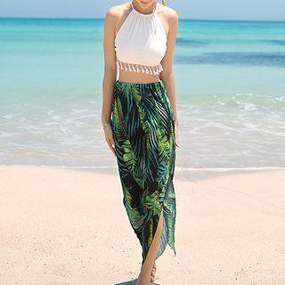 Set: Halter Bikini Top + Printed Swim Shorts + Coverup 1060565116