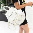 Faux Leather Drawcord Backpack 1596