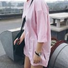 Embroidered Elbow Sleeve Side Slit T-Shirt 1596