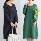 Chinese Frog Button Long-Sleeve Midi Dress 1596