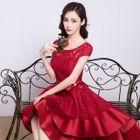 High-Low Lace Mini Prom Dress 1596