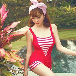Stripe Panel Swimdress 1050180644