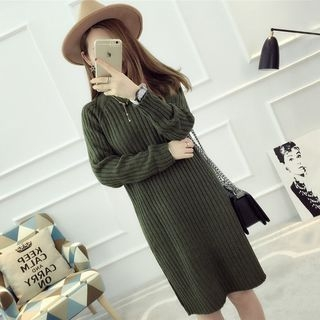 Mock Neck Ribbed Long Sleeve Knit Dress 1062153163