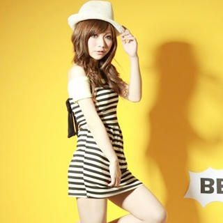 Picture of ZOO Strapless Bow-Back Striped Dress 1022763387 (ZOO Dresses, Womens Dresses, Taiwan Dresses)