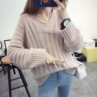 Ribbed V-neck Knit Top 1053681892