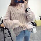 Ribbed V-neck Knit Top 1596
