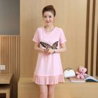 Maternity Short-Sleeve Pleated Dress 1596