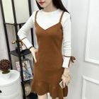 Mock Two-Piece 3/4-Sleeve A-Line Mini Dress 1596