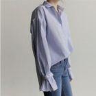 Long-Sleeve Striped Ruffled Shirt 1596