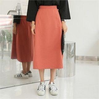 Band-Waist Long A-Line Skirt 1061646759