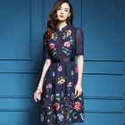 Mandarin Collar Floral Embroidered A-Line Dress 1596