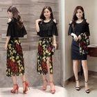 Set: Cutout Shoulder Ruffle Dress + Skirt 1596