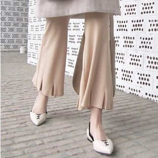 Cropped Plain Boot-cut Pants 1058580927