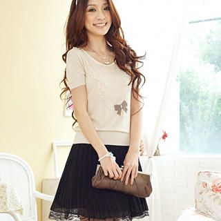 "Buy Tokyo Fashion Short-Sleeve ""Bow"" Beaded Knit Top 1022769287"