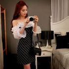 Chiffon-Sleeve Sheath Check Dress 1596