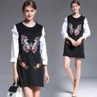 3/4 Sleeve Embroidered Frilled Trim Shift Dress 1596