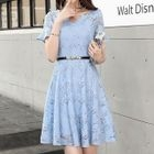 Short-Sleeve Ruffled Lace Dress 1596