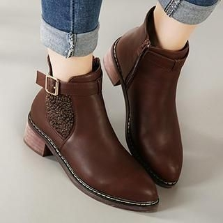 Pointy-Toe Buckled Paneled Ankle Boots