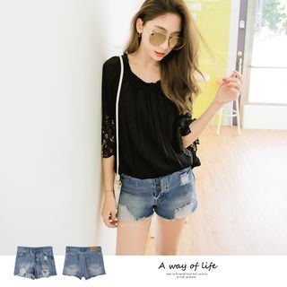 Ribbed Design Denim Shorts 1059955599