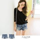 Ribbed Design Denim Shorts 1596