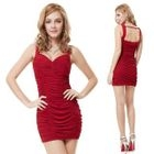 Sleeveless Open Back Ruched Sheath Party Dress 1596