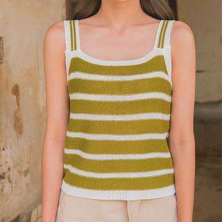 Sleeveless Stripe Knit Top 1060744598