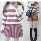 Striped Turtleneck Sweater / Pleated Mini Skirt 1596