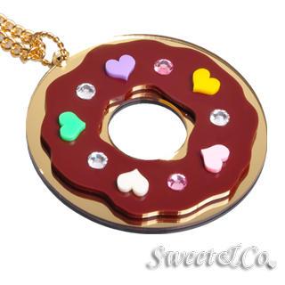 Swarovski | Necklace | Mirror | Donut | Heart | Long | Gold | Size | One
