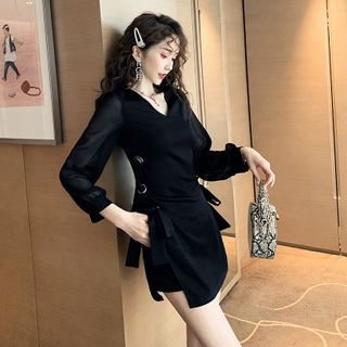 Chiffon | V-neck | Sleeve | Dress | Mini