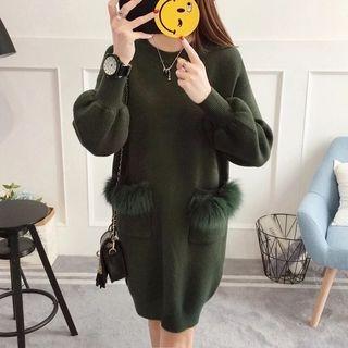 Faux Fur Trim Dual Pocket Knit Dress 1062999293