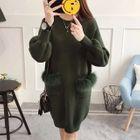 Faux Fur Trim Dual Pocket Knit Dress 1596