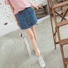 Buttoned Denim A-Line Mini Skirt 1596