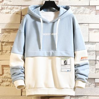 Lettering Two Tone Hoodie
