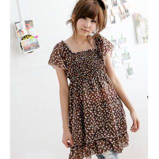 Buy MYHEART Flutter-Sleeve Smocked Floral Dress 1023058672
