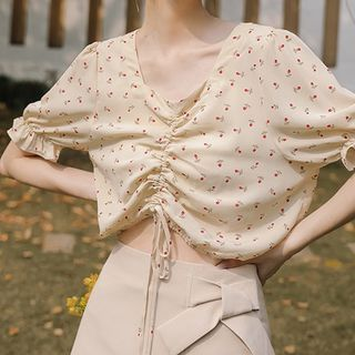 Short-sleeve | Drawstring | Blouse | Floral | Print